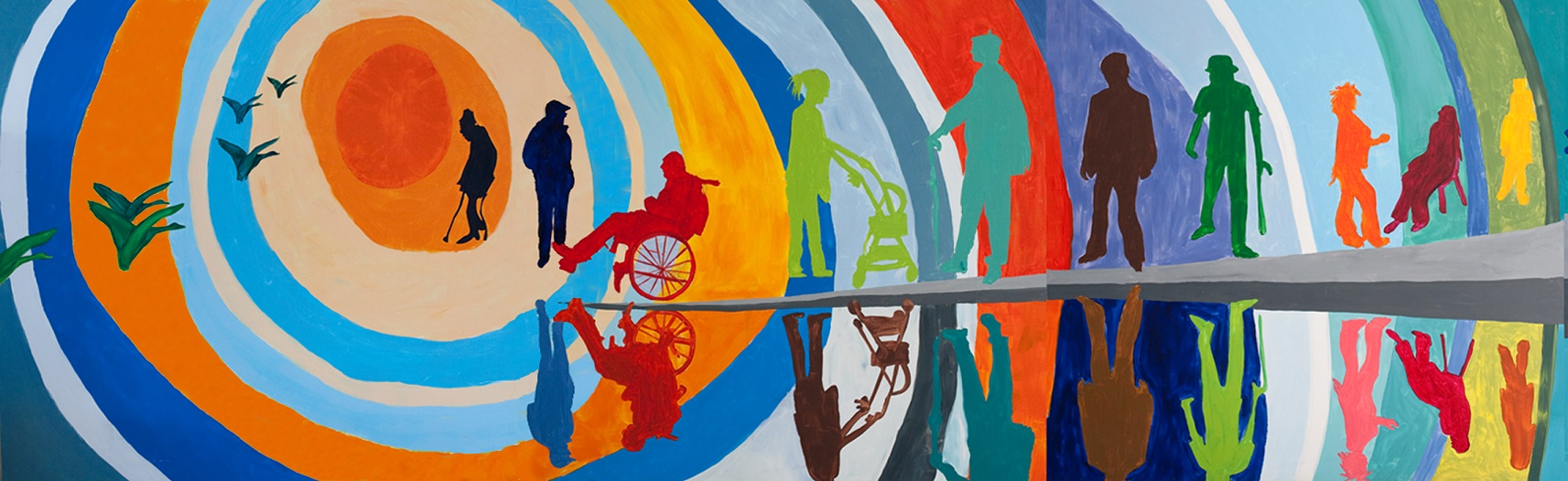 Picture painted by members of Headway showing community of disabled adults