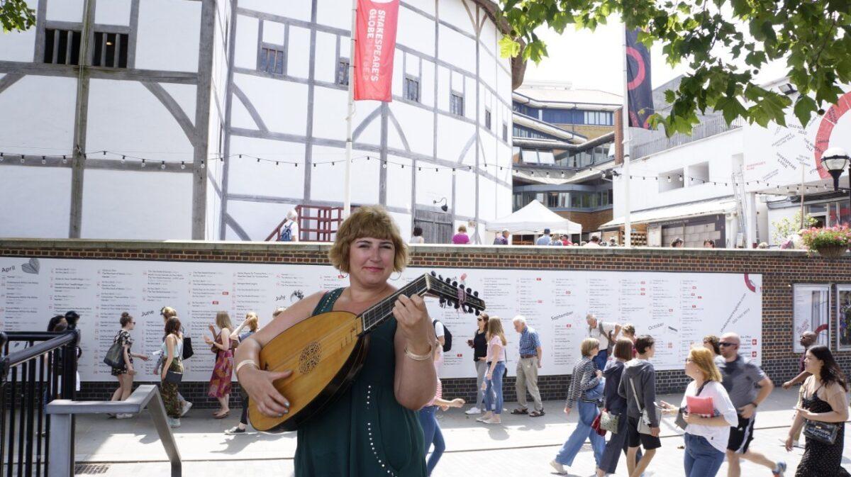 Stephanie Feeney Outside The Globe Theatre In London
